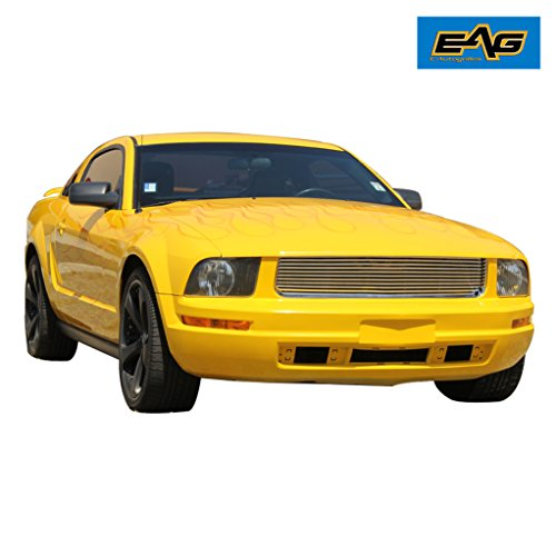 Upper Billet - EAG 05-09 Ford Mustang V6 Chrome Upper Hood Billet Packaged Grille with ABS Shell