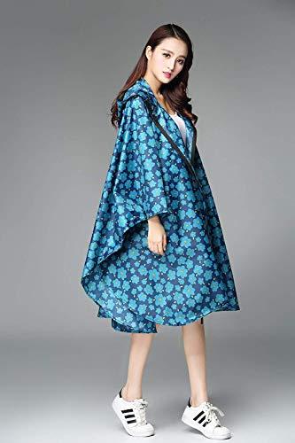 Imperméable Blume Motif Pluie Eva Des Casual Floral Femmes De Poncho Blau Parka Dame coat Moto Trench CCqpFXwxH