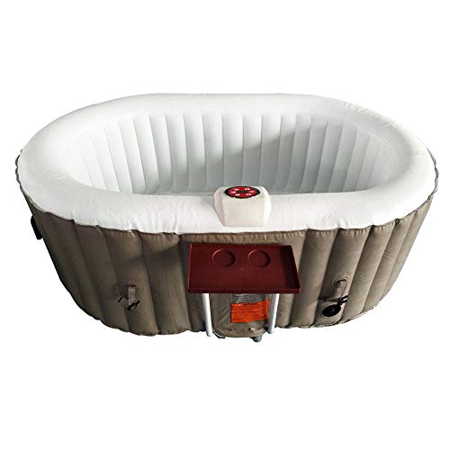 ALEKO HTIO2BRWH Oval Inflatable Hot Tub Spa with Drink Tray and Cover 2 Person 145 Gallon Brown and White