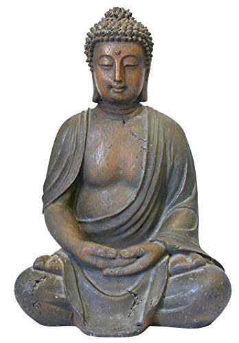 Alpine Corporation Meditating Buddha Statue - Outdoor Decor for Garden, Patio, Deck, Porch - Yard Art Decoration (Renewed) (Outdoor Buddha)
