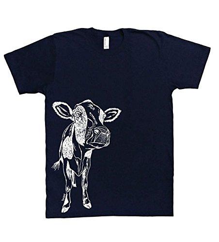 Mens T Shirt - Cow Tee - Animal Graphic Printed Short Sleeve S M L XL XXL Navy Blue