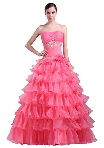 Wassermelone Kleid bodenlange traegerlosen Partei BRIDE Garn GEORGE Mehrschicht q1x0wpF