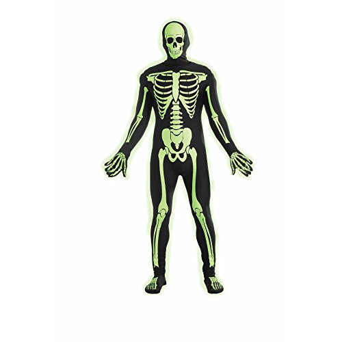Forum Novelties Women's Teen Disappearing Man Patterned Stretch Body Suit Costume Glow-In-The-Dark Skeleton, Black/White, Small/Medium - Skeleton Costumes Spandex