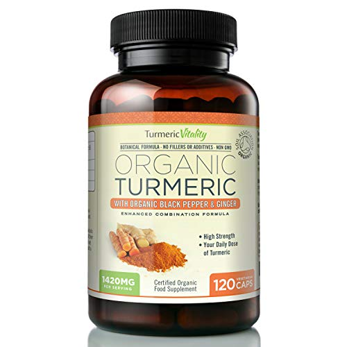Organic Turmeric Curcumin 710mg High Strength with Black Pepper & Ginger to...