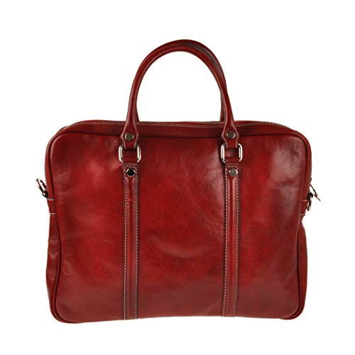 Pellevera Amato Italian Leather Laptop Arbeit Aktentasche (rot) rot FjK9X