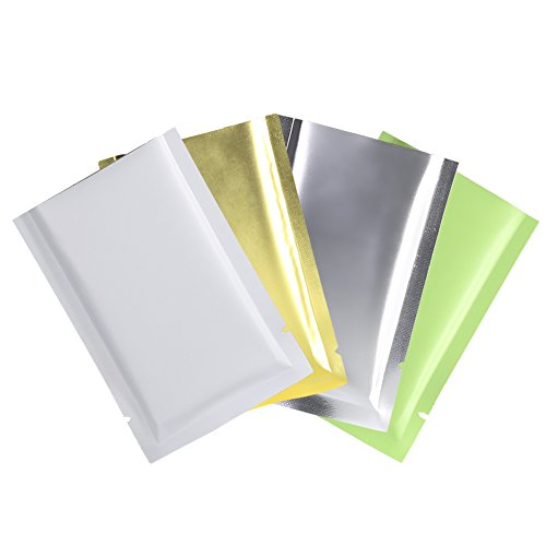 Variety Sizes Mixed Colors Sample Pack Flat Open Top Resealable Tear Notch Mylar Bags (100 Bags/Pack) (4