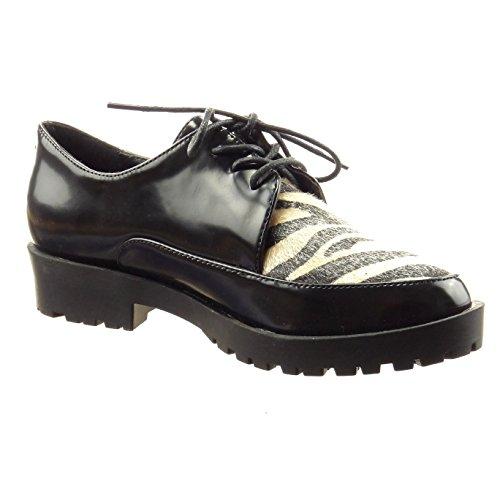 5 CM Moda de Tobillo Talón acabado Zapatillas ancho Negro pespunte 3 costura Sopily zapato patentes mujer bimaterial Tacón derby waqTYfYn
