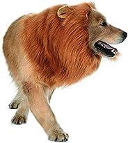 Dog Lion Mane,Pet Cat Lion Mane Wig Costumes with Ears,Adjustable Fancy Lion Hair for Halloween Costume (Dog L