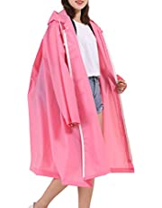 MAGCOMSEN Women's EVA Rain Coats Waterproof with Hood Long Rain Poncho Reusable Rainwear with Pockets