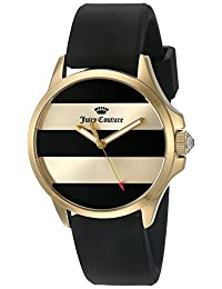 Juicy Couture Women's 'Jetsetter' Quartz Gold-Tone and Silicone Automatic Watch, Color:Black (Model: 1901345)