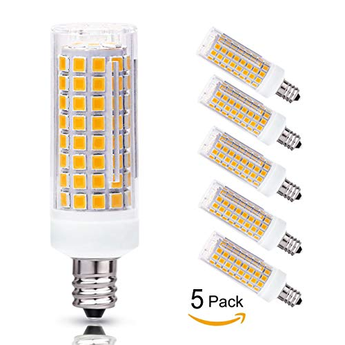 E12 LED Bulb Candelabra Light Bulbs 8W, 100 Watt Equivalent, Warm White 3000K Chandelier Bulbs, LED Candle Bulbs (E12 Base) Decorative Candle Base, Dimmable, 5 Pack (8w Warm - 100w Chandelier Bulbs 5 Light