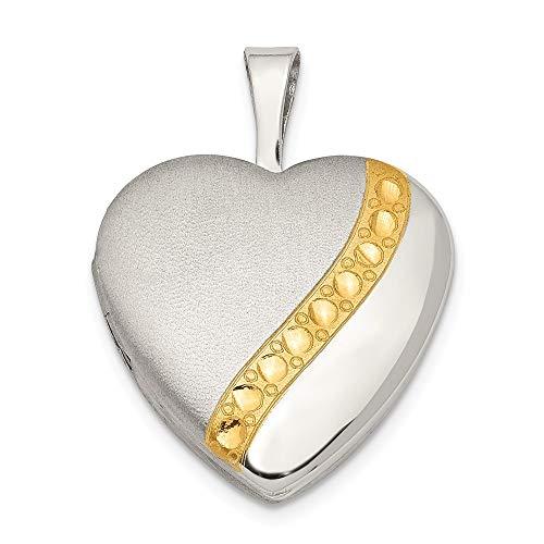 925 Sterling Silver 16mm Gold-tone Brushed & Polished Heart Locket Pendant
