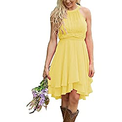 Meledy Women's Knee Length Country Bridesmaid Dresses Western Wedding Guest Dresses Short Maid Of Honor Gown Yellow US02