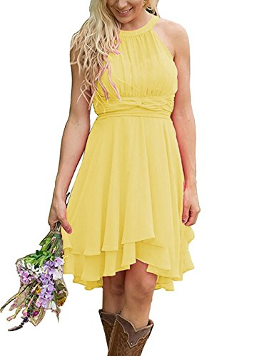 Meledy Women's Knee Length Western Wedding Guest Dresses Short Maid of Honor Gown Hi-Lo Country Bridesmaid Dresses Yellow (Yellow Halter Gown)
