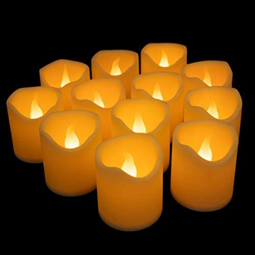 Furora LIGHTING Flameless LED Tea Lights Candles – Battery Operated Votives Candles Wave Open Style with Realistic Flickering Flame Best for Wedding, Party and Holiday Decoration Ideas – Pack of 12