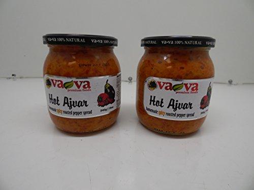 Hot Vegetable Spread (Va-Va Ajvar Hot Vegetable Spread, 540 Gr x 2, Pack of 2)