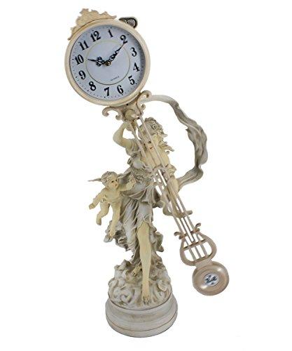 (Cherub Maidens Sculptural Mantel Clock Swing Clock Table Modern Quartz Antique Clock 74CM Tall )