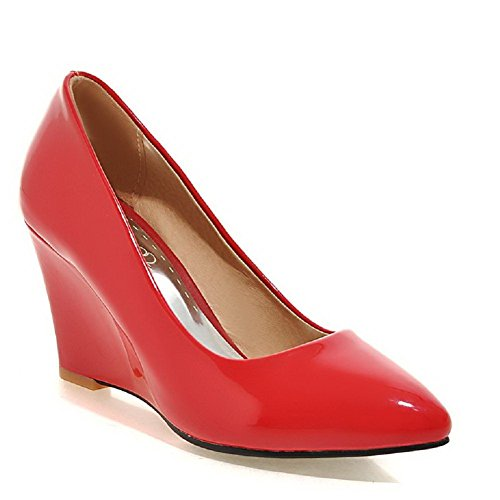 WeenFashion Women's Patent Leather Pull-on Pointed Closed Toe High-Heels Solid Pumps-Shoes, Red, 38 by WeenFashion