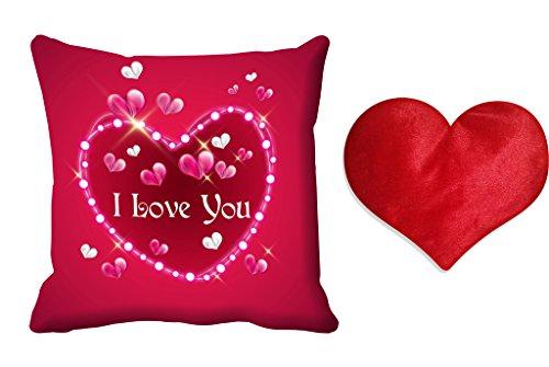meSleep Pink Love You Valentine Digital Printed Cushion (With Filler)-free