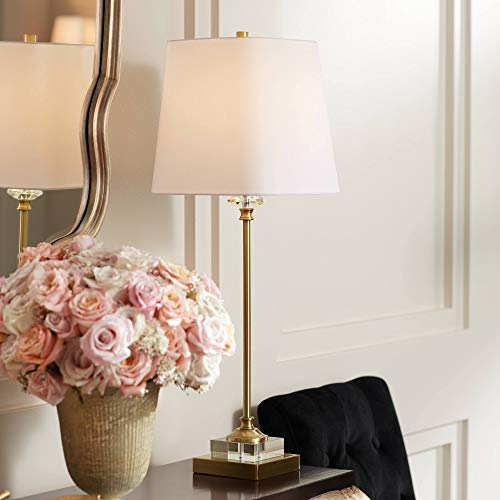 Julia Traditional Buffet Table Lamp Gold and Crystal Shaped Shade for Dining Room - Regency Hill ()