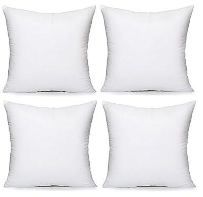 Acanva Soft Hypoallergenic Throw Pillow Insert Form Stuffer, Set of 4