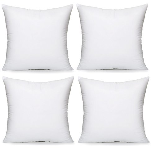 "Acanva Hypoallergenic Pillow Insert Form Cushion, Square, 20"" L x 20"" W, Pack of 4"