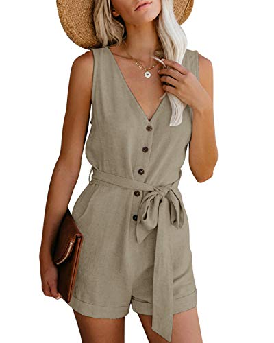 CNFIO Women Jumpsuits Summer Sleeveless Playsuit Sexy V Neck Short Romper with Belt