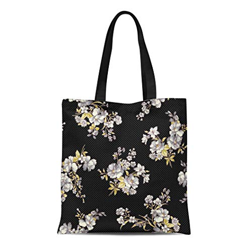 (Semtomn Canvas Tote Bag Shoulder Bags Corsage Bouquet Flower Pattern Pretty Beautiful Blossom Botanical Consecutively Women's Handle Shoulder Tote Shopper Handbag)