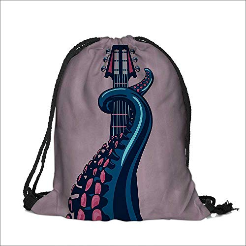 Thick Drawstring Pocket Octopus Tentacle is Holding Guitar Riff Musical Instrument Rock and Roll Modern with Drawstring Closure 15