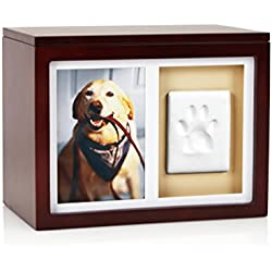 Pearhead Dog Or Cat Paw Prints Pet Memory Box With Clay Imprint Kit, Perfect Pet Memorial Espresso