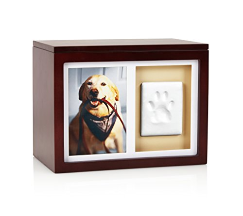 Pearhead Dog Or Cat Paw Prints Pet Memory Box With Clay Imprint Kit, Perfect Pet Memorial Espresso ()
