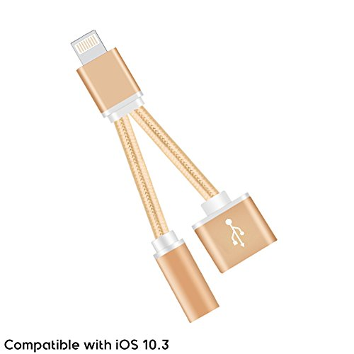 Multi-Function Lightning to 3.5mm Audio Headphone Jack Adapter Splitter Cable with Lightning Charging Port Braided Design for iPhone 7 / iPhone 7 Plus Supports iOS 10.3
