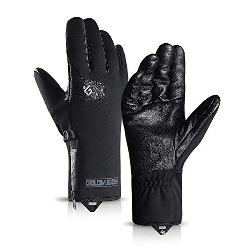 TRENDOUX Snowboarding Gloves, Touch Screen Glove for Texting Smartphone - Windproof and Water Resistant - Anti-Slip - Hands Warm in Winter Cold Weather for Outdoor Climbing Driving - Black - L ()