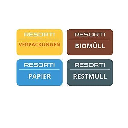 Resorti - Juego de 4 Pegatinas para separación de residuos y ...