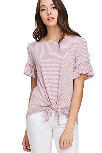 Annabelle Women's Plus Size Stripe Print Ruffle Short Sleeve Front Tie Round Neck Top Lavender Ivory Small T1243 (Twist Ties Stripe)