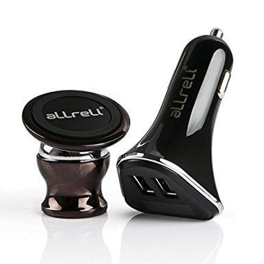 KFZ Ladegerät, aLLreLi 4.8A 2-Port USB Auto Ladegerät mit LED- Anzeige + Universal KFZ Handyhalterung Magnetic