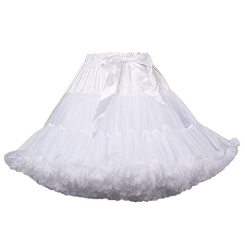 (SABridal Tulle Short A Line Ruffle Tutu Petticoats Candy Color Puff Crinoline Underskirt for Prom Dresses White)