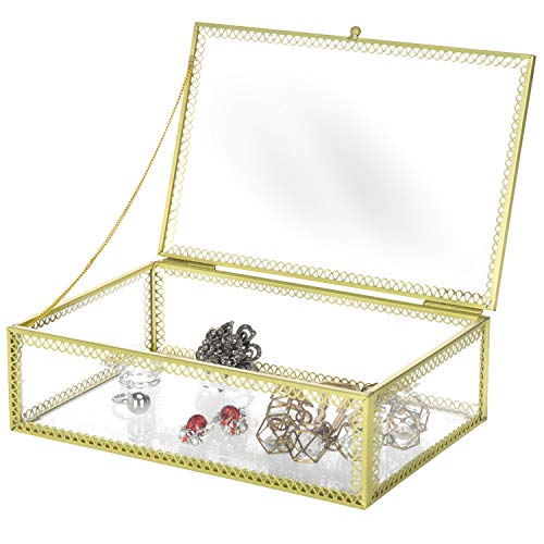 Vintage Style Brass & Glass Rectangular Shadow Box, Jewelry Display Case with Lid