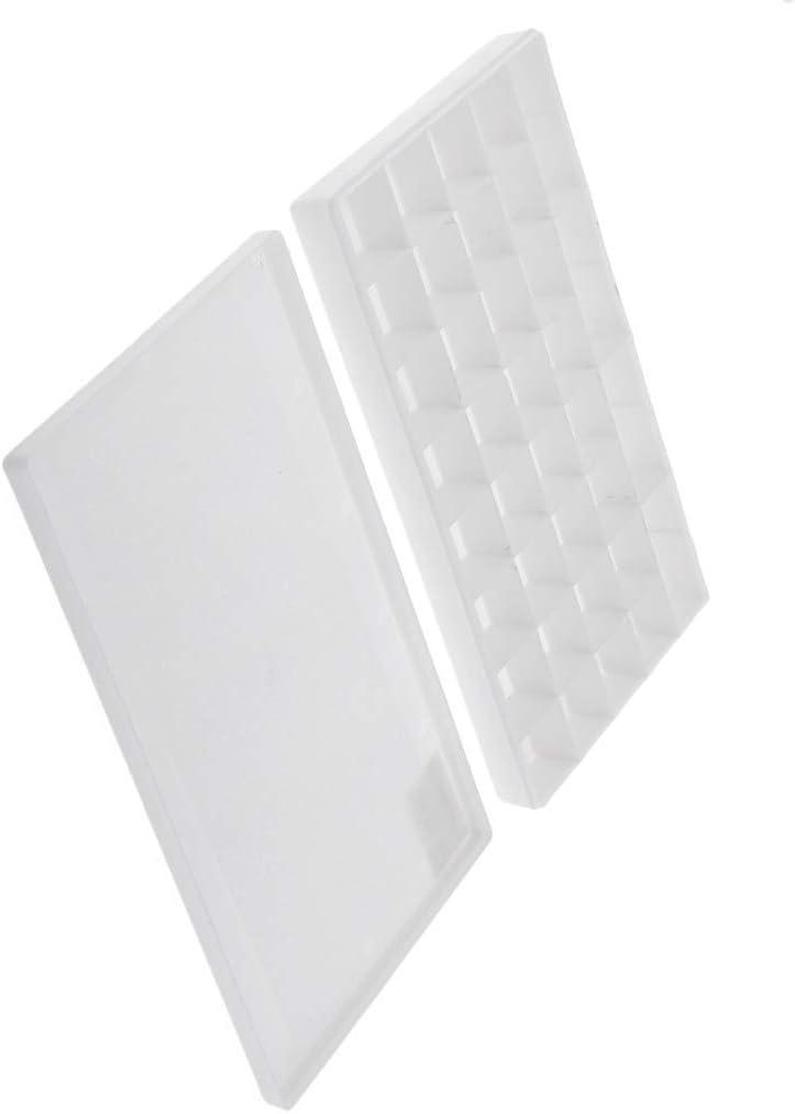 1 paleta de pintura de color blanco con 36 rejillas, bandeja de pintura artística con tapa para acuarela, acrílico, pintura al óleo, caja de paleta de plástico, mantiene tu pintura húmeda durante días