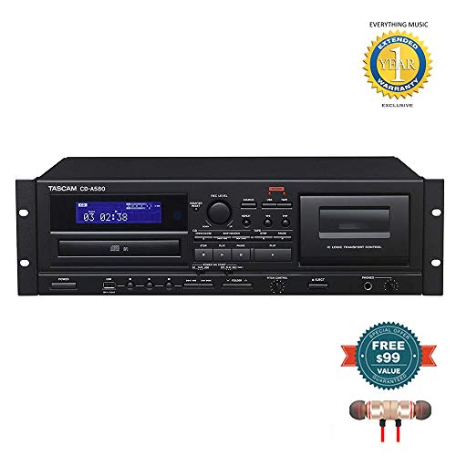 - Tascam CD-A580 Rackmount Cassette/CD/USB MP3 Player Recorder Combo includes Free Wireless Earbuds - Stereo Bluetooth In-ear and 1 Year Everything Music Extended Warranty