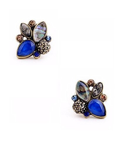 Young & Forever Women's Paradiso Navy Blue Art Deco Rhinestone Stud Earrings Earrings by Young & Forever