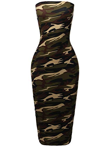 Solid Stretchable Body-Con Midi Tube Dress - Made in USA Army Green ()