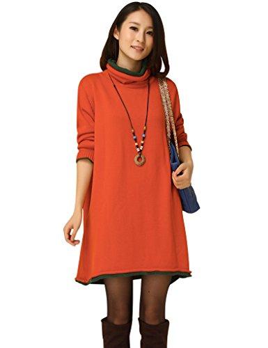 Vestito line Maglia Arancia A Donna Collo Dress Maglione A Jumper Youlee Xqw4Tzx