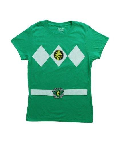 Power Rangers Green Ranger Costume Green Juniors T-Shirt Tee (Juniors Medium) (Power Rangers Green Ranger Costume)