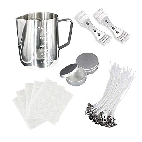 Candle Making Kit Supplies, DIY Candle Craft Tools Sets - Included 1pcs Candle Making Pot, 100pcs Natural Candle Wicks, 100pcs Candle Wick Stickers, 2pcs Candle Wicks Holder and 2pcs Candle Tins ()