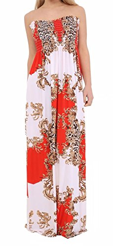 Islander Fashions Damen Plus Gre gedruckt Bandeau Sheering Maxi Damen Party Wear Kostm S/XXXL Red Paisley Print