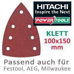 Hitachi-753429-Papier abrasif pour Ponceuses delta vibrantes 100 x 150 mm grain 320 Velcro (10 Vous)