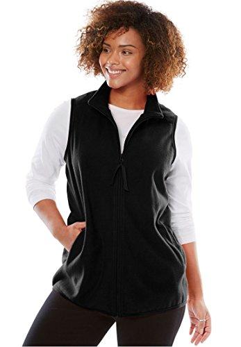 Woman Within Plus Size Zip-Front Microfleece Vest - Black, L
