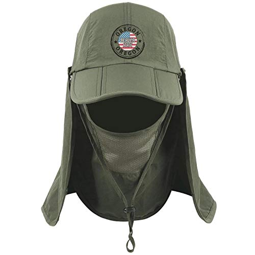 Oregon Culture Beaver State Unisex Army Green Fishing Cap for Mens Womens Removable Caps