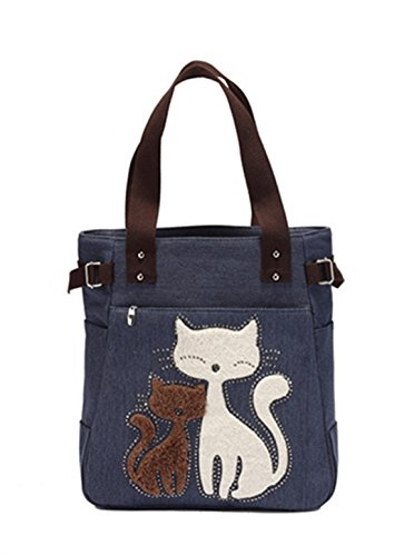 Ruiatoo Women's Cute Cat Design Canvas Zipper Handbags Shoulder Tote Bag Deep Blue